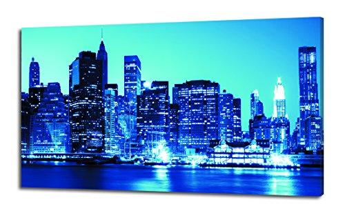 Pintdecor Lichter A New York Leuchtpanel, Tannenholz, Nachtblau, 80x 40x 4.5cm