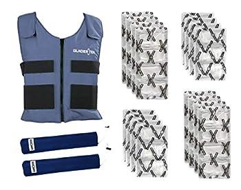 Glacier Tek Sports Cool Vest Bundle with biobased Cooling Packs Plus Spare Pack Set Blue