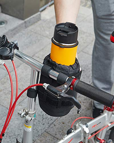Bike Cup Holder Bicycle Drink Cup Holder with Mesh Pocket Universal Bike Handlebar Water Bottle Holder for Cruiser Bike Scooter Mountain Road Bikes Fits 12oz32oz Bottles