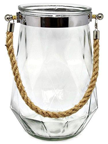 Bada Bing XXL Windlicht Rhomb Glas mit Kordel Hängewindlicht Laterne Vase Deko Maritim 72