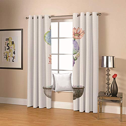 QHDIK Kids Printed Blackout Curtains for Bedroom cactus Patterns Curtains Eyelet Thermal Insulated Room Darkening Window Treatment for Living Room Nursery 2 Panels W46 x H54 inch