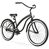 Firmstrong Bella Fashionista 3-Speed Beach Cruiser Bicycle, 26-Inch, Gloss Black/Green Rim