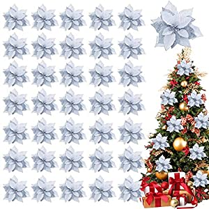 TURNMEON 36 Pack Glitter Poinsettia Christmas Flowers Decorations Christmas Tree Ornaments, Glitter Gold 4″ Artificial Silk Flowers Picks Decor Wreath Garland Holiday (Royal Silver)