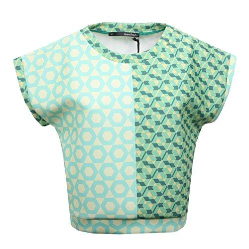AnnaRita N B6528 Maglia Donna Maglie Verde Acqua/Giallo t-Shirt Woman [44]