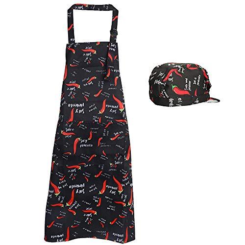 JNCH 1pz Grembiule Lungo con Tasca 1pz Cappelli Cappellini Bandana Berretti da Cuoco Uomo Donna Unisex