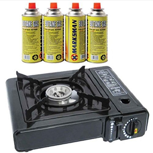 Portable Camping Gas Cooker Stove + 4 Butane Refill Bottles For Fishing Picnic / Camp Cooking Gear Cookware Camping Utensils Supplies Kitchen Grills BBQ Essentials Campfire Set Kit Hiking Fishing Hunting Outdoor Picnic Equipment Stove Cooker Professional