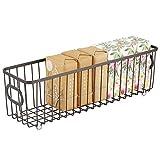 mDesign Cesta de almacenaje en metal con asas integradas – Caja organizadora...