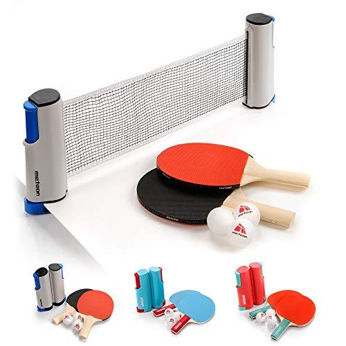 Set Ping Pong 1 Red 2 Raquetas 2 Pelotas Neto para Tenis de Mesa Longitud Ajustable hasta 170 cm Portátil Accesorio para Entrenamiento y Actividades al Aire Libre y Deportes (Basic, Rojo/Negro)