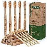 Spazzolini in Legno di Bambù, Confezione da 10 Famiglie, Spazzolino da denti in legno biodegradabile naturale, Setole morbide/dure, Per bambini e adulti