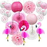 YZNlife Flamingo Party Dekoration, 21PCS Party Deko Set, Hochzeit Dekoration Geburtstagsdeko Bunt Partydeko, mit Wabenbälle, Ballons, Papier Pom Poms und Papierblumen, für Festival Hawaii Party