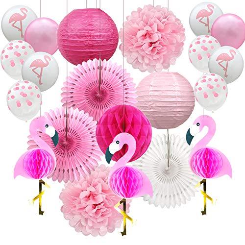 YZNlife Flamingo Party Dekoration, 21PCS Party Deko Set, Hochzeit Dekoration Geburtstagsdeko Bunt Partydeko, mit Wabenbälle, Ballons, Papier Pom Poms und Papierblumen, für Festival Hawaii Party