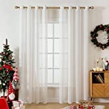 MIULEE 2 Panels Voile Curtains Sheer Cross Linen-like Solid Color Contemporary Decorative Ring Top Eyelet Panels for Bedroom Livingroom Nursery Room White 55' Wx96 L