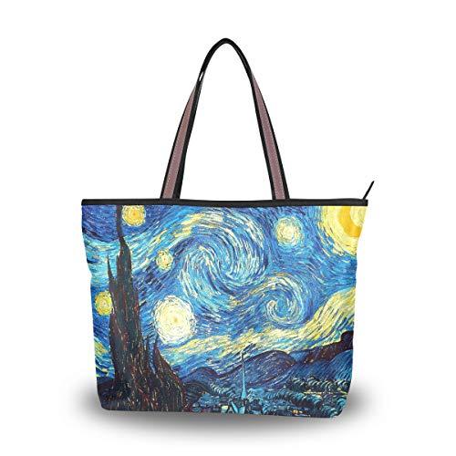 MyDaily Fashion - Borsa a tracolla da donna, motivo: notte stellata, Van Gogh, Multicolore (Multicolore), Medium