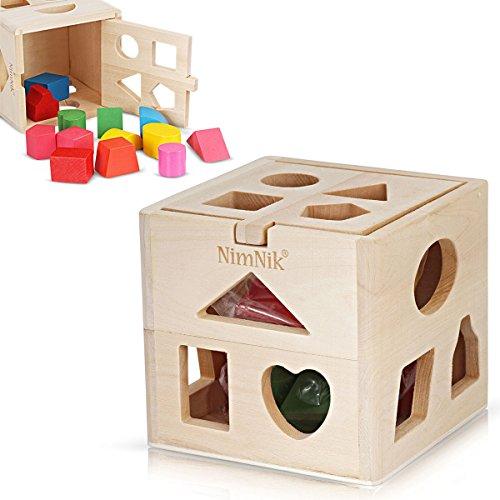 Gioco Forme a Incastro per Bambini in Legno - Gioco Didattico Educativo Migliora Apprendimento - Scatola Giocattolo con Forme e Colori - 1+ anni - NimNik