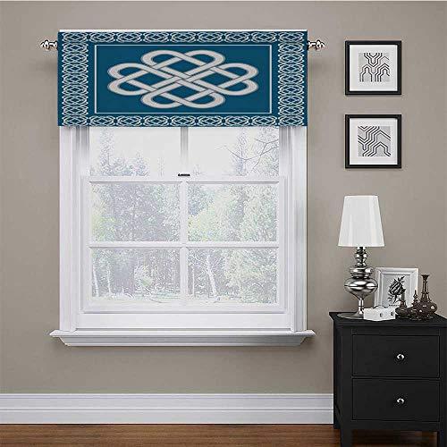 carmaxs Window Curtain Valance Irish for Kitchen Window Treatment Celtic Love Knot Good Fortune Symbol Framework Border Historical Amulet Design 60' x 18' Dark Aqua White