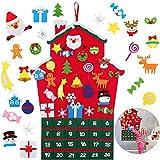 Queta Calendario dell'Avvento per Il riempimento, Feltro Calendario di Natale con 24 Ornamenti Natalizi per Bambini Regalo Decorazione della Parete della Porta di casa