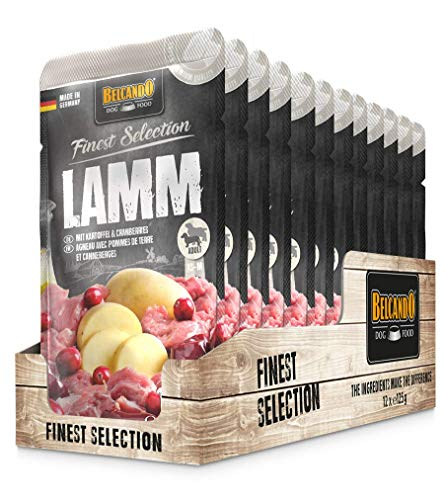 Belcando Frischebeutel [12x125g Lamm mit Kartoffel & Cranberries] | Nassfutter für Hunde | Feuchtfutter Alleinfutter im Einzelportionsbeutel