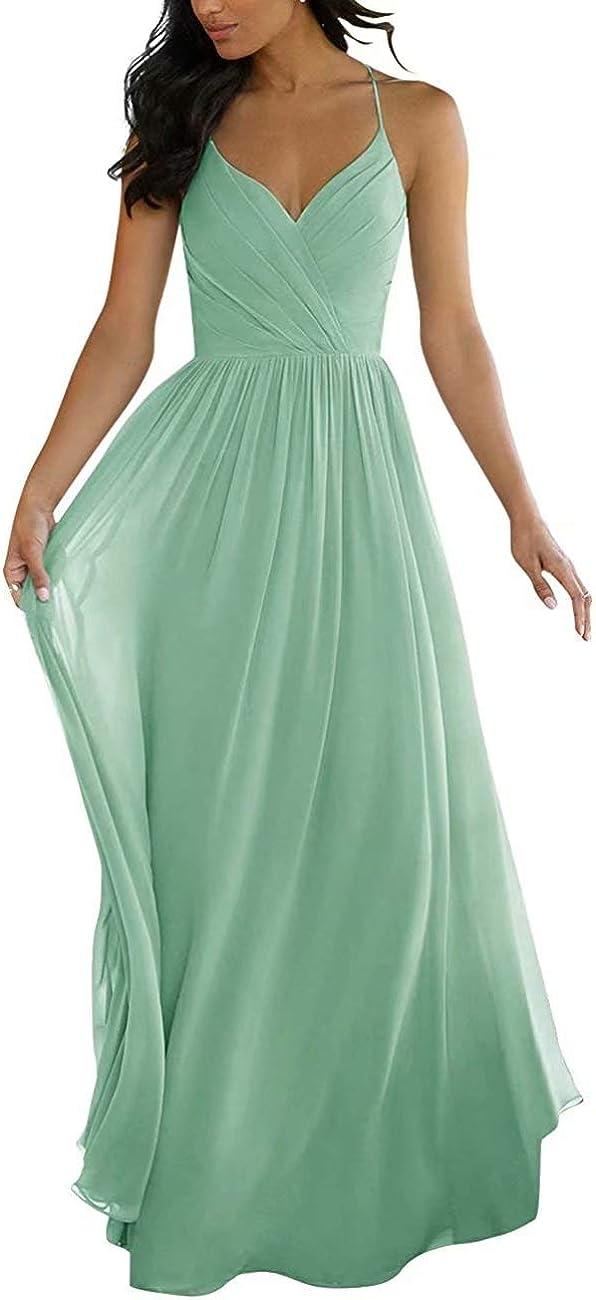 RYANTH Women Bridesmaid Dresses Long V Neck Pleated Chiffon Maxi Gowns RYZ04