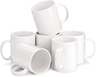 MIWARE Porcelain Coffee Mug Set - 12 Ounce for Coffee, Tea, Cocoa, Set of 6 Mugs, White
