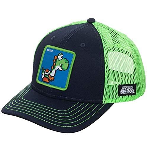 Gorra de béisbol de algodón Snapback Hombres y Mujeres, Gorra de Camionero de Malla de papá Hip Hop-Super Mario
