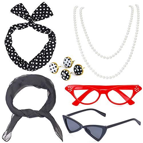 Beelittle Set di Accessori per Costume da Donna Anni '50 Sciarpa di Chiffon Pois Bandana Cravatta Orecchini a Fascia Retro Cat Eye Eglasses Collana di Perle (Nero)