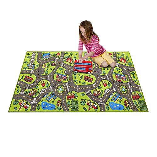 Extra Large 6.6 Feet Long! Kids Carpet Playmat Rug   City Life, Great To Play with Cars & Toys - Have Fun! Safe, Learn, & Educational -Ideal Gift For Children Baby Bedroom Play Room Game Play Mat Rugs