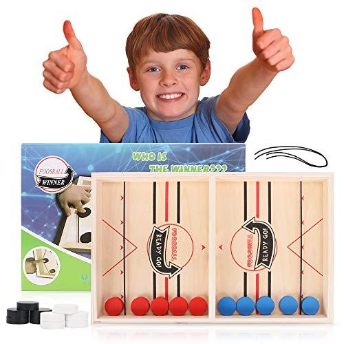 MMTX Schnelles Fast Sling Puck Spiel, Brettspiel Hockey Katapult Brettspiel Wooden Bouncing Brettspiel Portable Tisch Slingshot Brettspiel Hockey Spielzeug für Kinder & Familie
