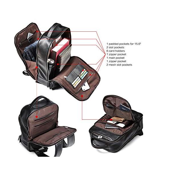 CLUCI Genuine Leather Backpack for Men Slim 15.6 Inch Laptop Large Capacity Business Travel Bag Black 4