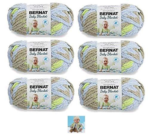 Bernat Baby Blanket Yarn - 6 Pack Bundle with Patterns (Little Boy Dove)