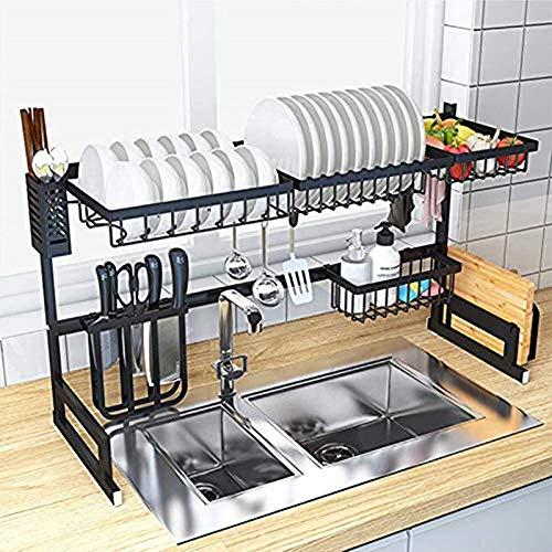 TZUTOGETHER Retráctil escurreplatos acero inoxidable,escurreplatos sobre fregadero,Organizador de almacenamiento de espacio de cocina,escurreplatos 2 niveles,para lavabos dobles(33.5-39.4inch)