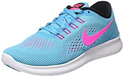 Nike Damen Free RN Laufschuhe, Türkis (Gamma Blue/Pink Blast/Photo Blue/Black),  35 1/2 EU