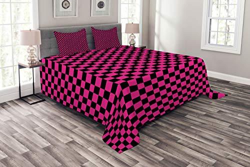ABAKUHAUS Hot Pink Tagesdecke Set, Vichy-Karos Vibrant, Set mit Kissenbezügen Kein verblassen, für Doppelbetten 220 x 220 cm, Magenta Schwarz