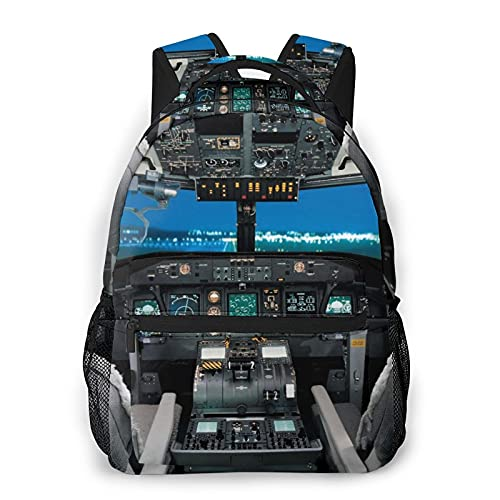 RUPIHU Zaino casual classico,Fantastica cabina di pilotaggio dell'aeroplano,Borsa per libri da scuola universitaria con zainetto per computer aziendale