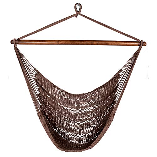 Lazy Daze Hammocks Caribbean Hanging Swing Chair, Soft Spun Polyester Rope, 47-inch Wood Spreader Bar, Weight Capacity 300 Pounds, Brown