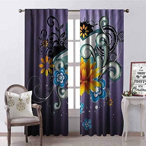 Wild One Curtain Moderner schattierender Vorhang mit Sternen, Blumen und Wirbeln, schalldämpfender Hintergrund