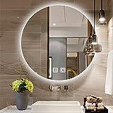 Qutech Espejo De Baño LED De 50 Cm X 50 Cm con Luz, Espejos De Maquillaje Redondos Iluminados para Dormitorio De 60x60 Cm con Interruptor Táctil Inteligente Y Antivaho