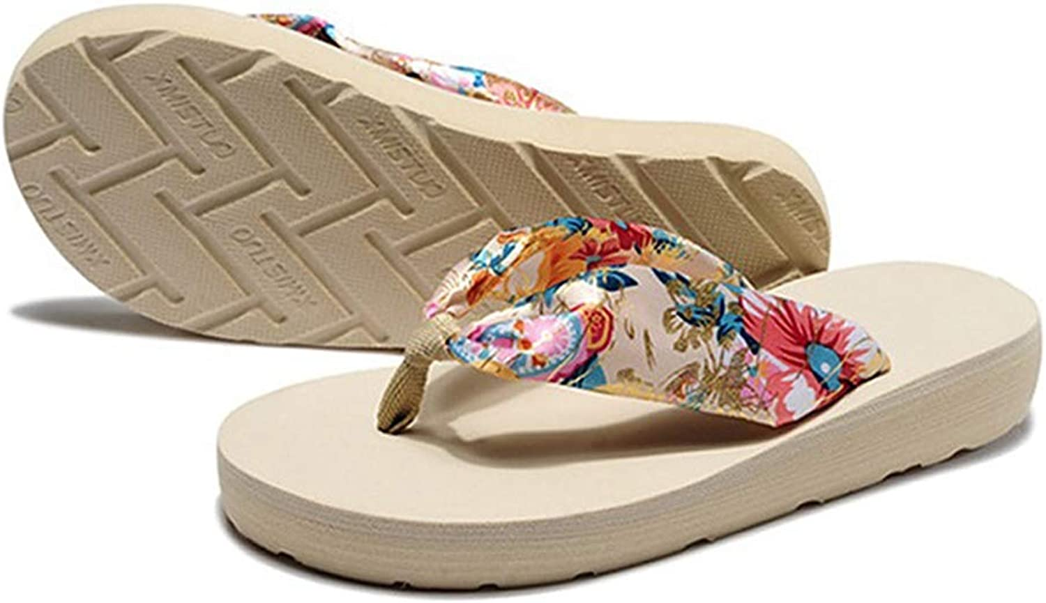 Btrada Summer Bohemian Satin Printing Beach Slippers Women Florals Casual Wedge Sandals Flip Flops