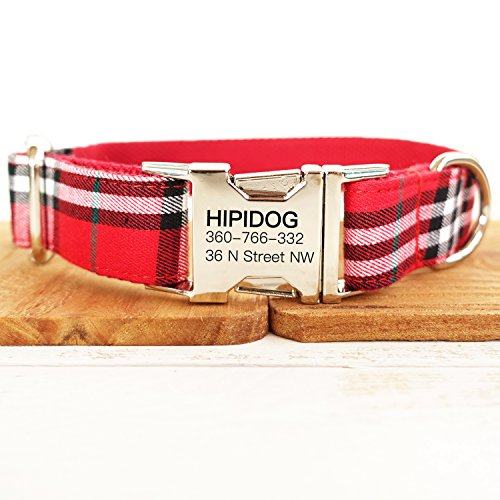 hipidog Personalized Dog Collar, Custom Engraving with Pet Name and Phone Number, Adjustable Tough Nylon ID Collar, Matching Leash Available Separately (Scottish Red)