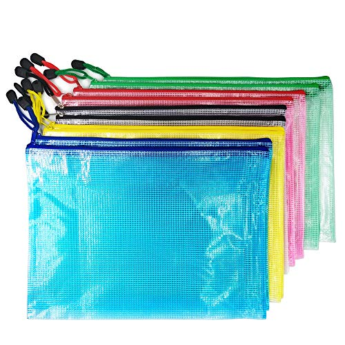 ジッパー式ファイル袋 ファイルケース メッシュ 新聞 雑誌 現金 ジッパー ファイルバッグ 收納袋 A4判 PVC製 撥水 網目 ファスナ付