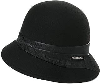 Womens 100% Wool Derby Hat 1920s Fedora Round Bucket Felt Winter Bowler Cloche 55-57cm
