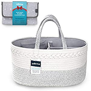 StarHug Baby Diaper Caddy Organizer – Baby Shower Gift Basket with 2 Inner Pockets, Cleanable Interior, 100% Cotton Rope, Eco-Friendly, Large (Diaper Caddy + Portable Changing Pad)