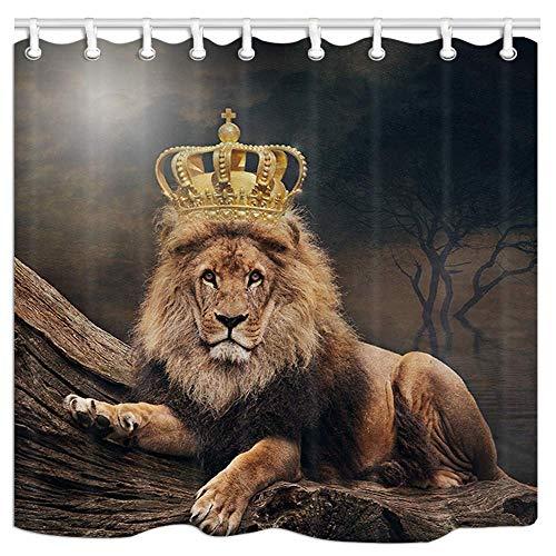 不适用 Wildlife Animal Duschvorhang, König der Löwen, der auf altem Baumpolyester schläft