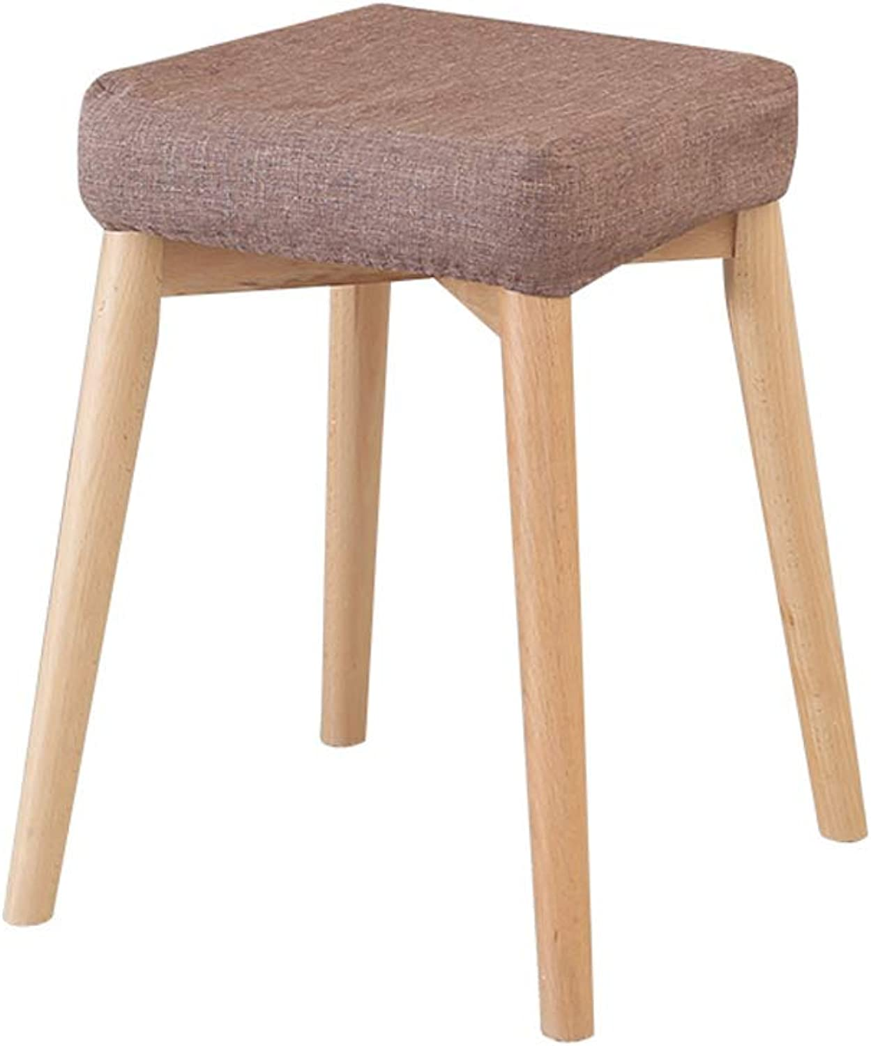 DYFYMX,Stylish Stool Solid Wood Dining Stool, Fabric Dressing Stool Nordic Simple Home high Bench Furniture (color   B)