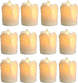 「Aotealit」12個セット LEDキャンドルライト ティーライト(D5✕H8センチ)蠟燭形 LEDライト 本物そっくり 電池式 ロウソク 安全 無香料 無火炎 電球色 ウォームホワイト リアル感設計 省エネルギー 装飾用 室内・室外飾り ...