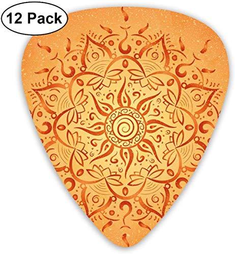 Plektren-12-Pack, African Tribal Ethnic Sun-Muster mit Ombre-Effekt-Mandala-Figuren Icons Culture Theme Print, für E-Bass