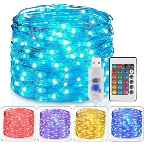 JSSEVN Cadena de luces de 10 m con 100 ledes multicolor, para exteriores, 16 colores, cable de cobre USB, para interior con mando a distancia y 4 modos, cambio de color, para Navidad, habitaciones
