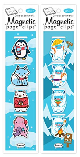 Re-marks Yeti & Arctic Animals Magnetic Page Clip 2 Packs of 4 Bookmarks