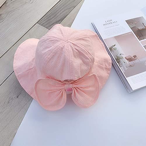 Verano Primavera Sombrero de Cubo para bebé al Aire Libre para niñas, Sombreros de Pescador para el Sol, Gorra de algodón para niños, Gorra de Princesa para Playa, Gorra de niña con Lazo-Pink