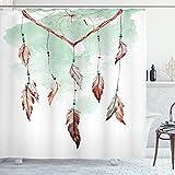 ABAKUHAUS Feder Duschvorhang, Dreamcathcer Tradition, Waserdichter Stoff mit 12 Haken Set Dekorativer Farbfest Bakterie Resistet, 175 x 180 cm, Mint grün-braun