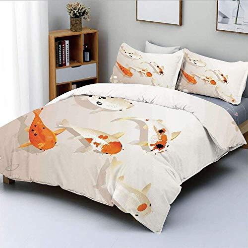 Set copripiumino, tradizionale asiatico sacro spotty Koi Carps Oriental Sign of Love ZenDecorative 3 pezzi set di biancheria da letto con 2 fodere per cuscini, arancione beige, miglior regalo per bamb
